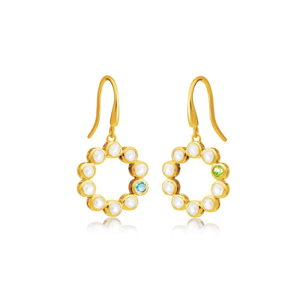 Sequence Pearl & Mixed Gemstone Hoop Earrings - Auren Jewellery