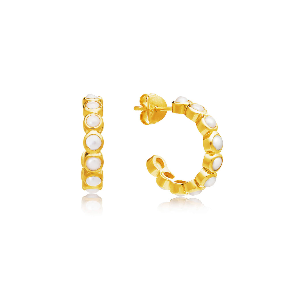 Sequence Pearl Small Hoop Earrings
