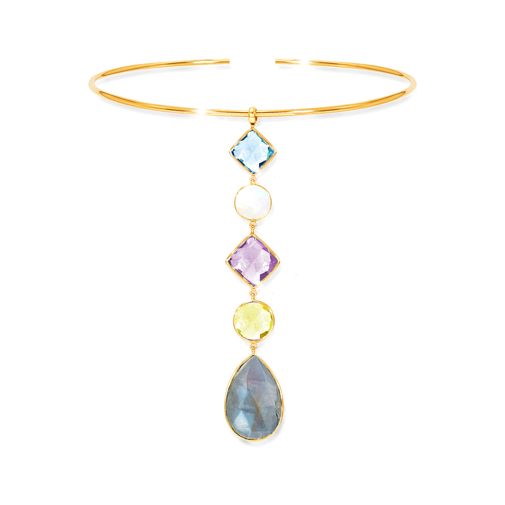 Kaleidoscope Gemstone Mix Pendant & Collar