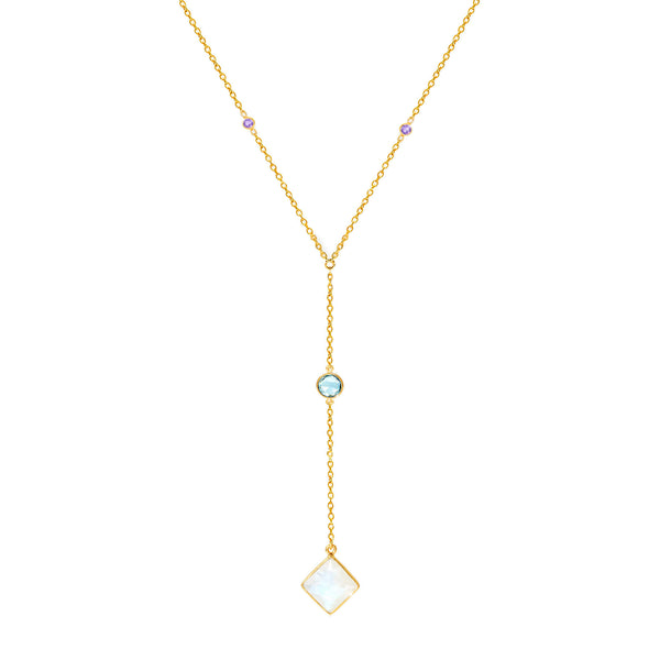 Equinox Gemstone Lariat Necklace - Auren Jewellery