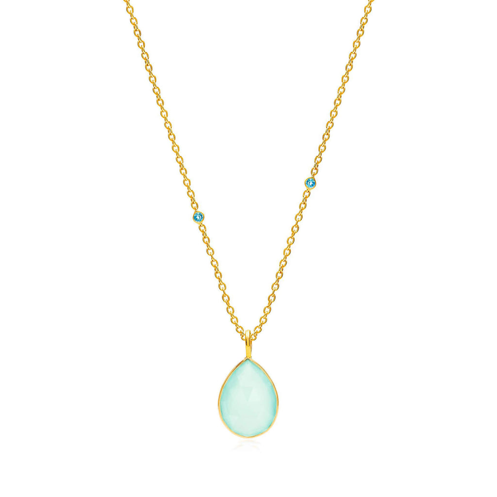 Raindrops Blue Topaz & Aqua Chalcedony Necklace