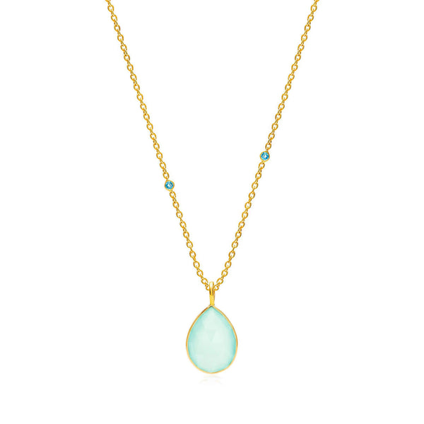 Raindrops Blue Topaz & Aqua Chalcedony Necklace - Auren Jewellery