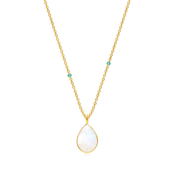 Raindrops Moonstone &  Blue Topaz Necklace - Auren Jewellery