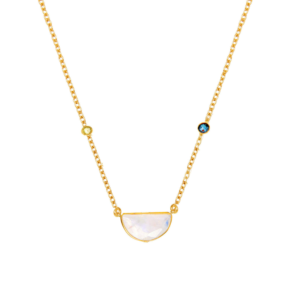Crescent Sapphire & Moonstone Necklace