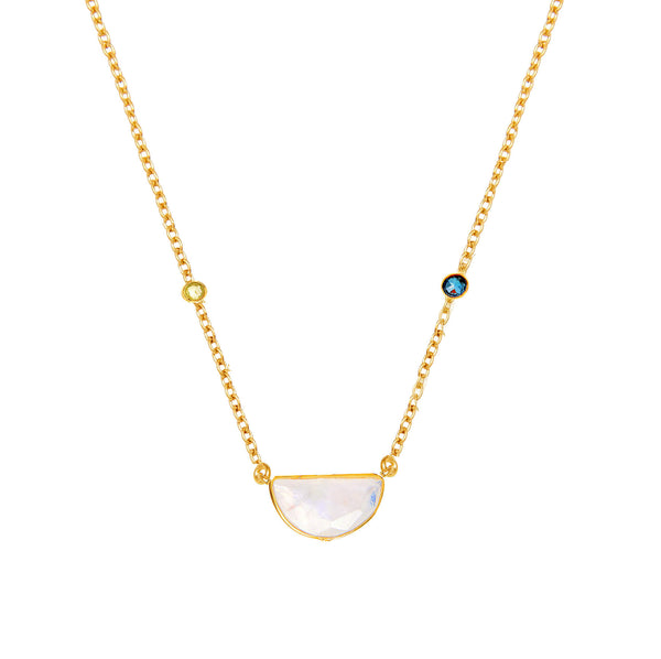 Crescent Sapphire & Moonstone Necklace - Auren Jewellery