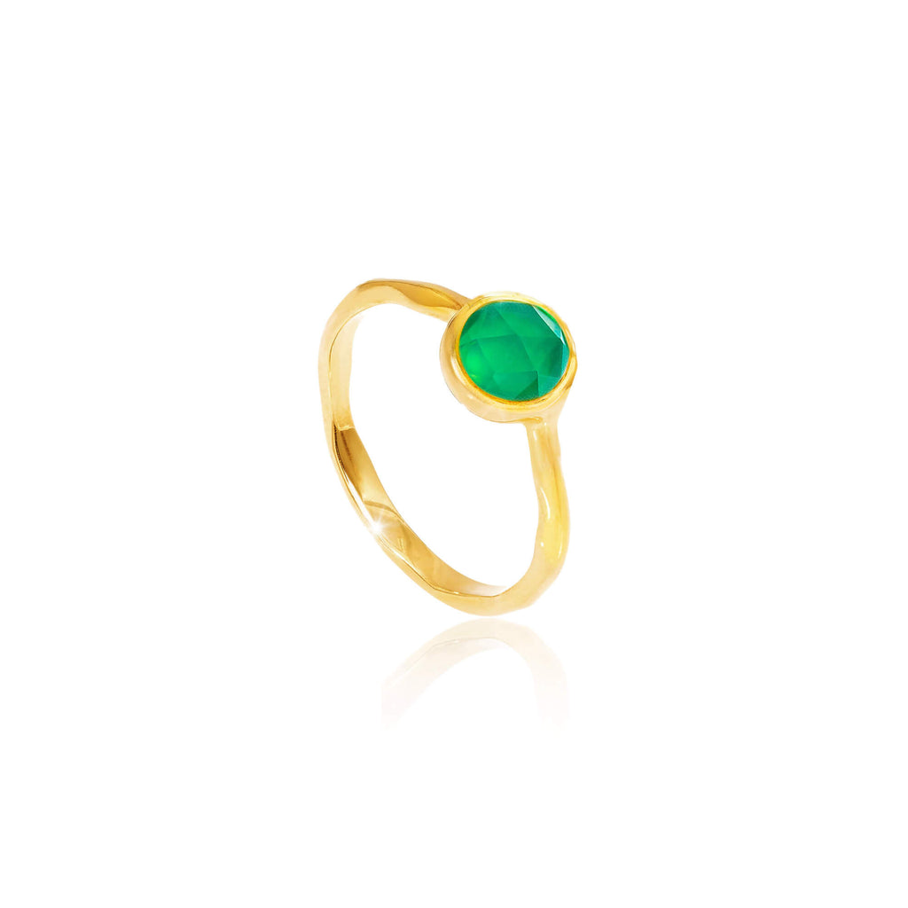 Emerald Quartz May Birthstone Ring
