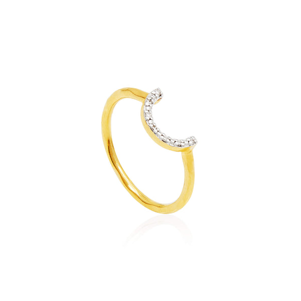 Crescent Diamond Pave Ring - Auren Jewellery