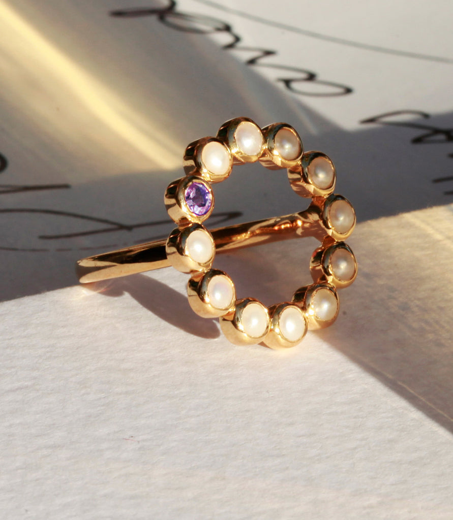 Sequence Pearl Amethyst 'Halo' Ring