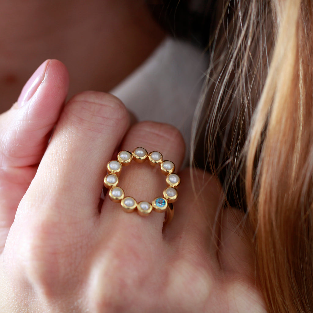 Sequence Pearl Blue Topaz 'Halo' Ring - Auren Jewellery