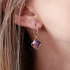 Geometric Amethyst Drop Earrings