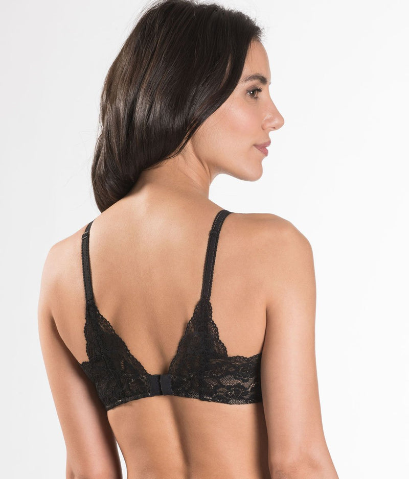 Aubade 'Rosessence' (Noir) Spacer T-Shirt Bra - Sandra Dee - Model Shot - Rear