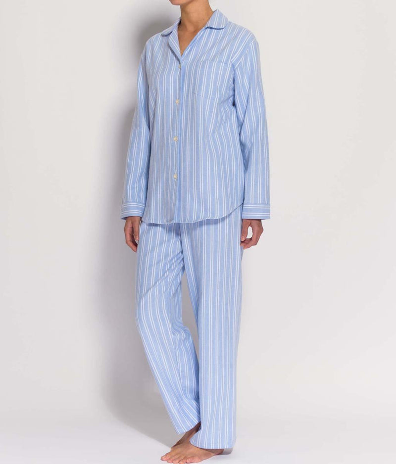 British Boxers Two-Fold Flannel (Westwood Blue Stripe) Pyjamas - Sandra Dee - Product Shot - Front