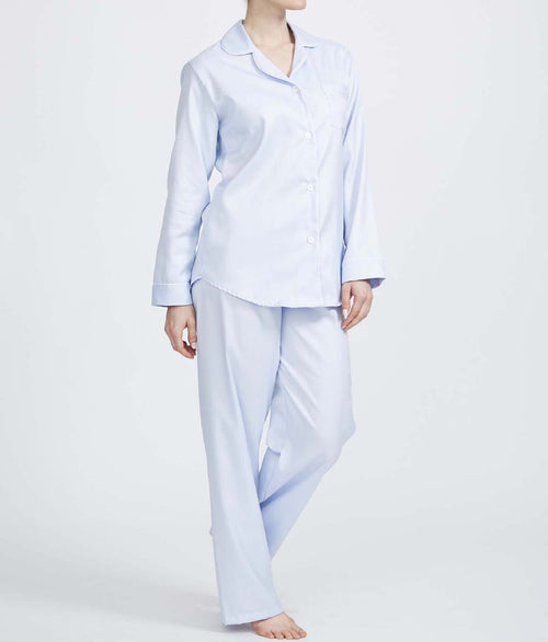 British Boxers Two-Fold Herringbone (Pearl Blue) Pyjamas - Sandra Dee - Product Shot - Front