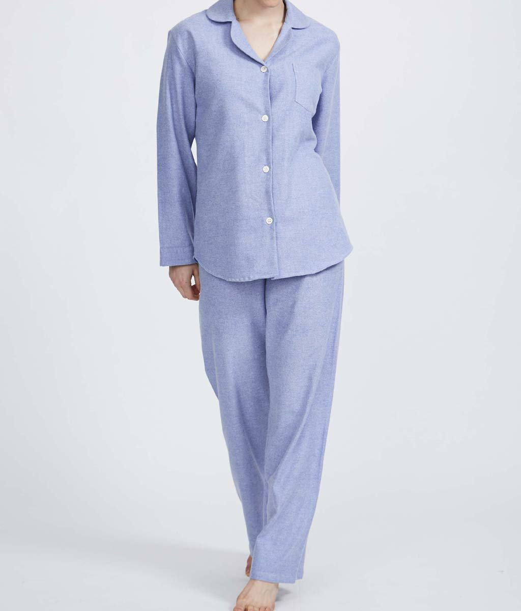 British Boxers Two-Fold Herringbone (Staffordshire Blue) Pyjamas - Sandra Dee - Product Shot - Front