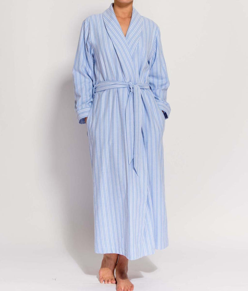British Boxers Two-Fold Flannel (Westwood Blue Stripe) Robe - Sandra Dee - Product Shot - Front