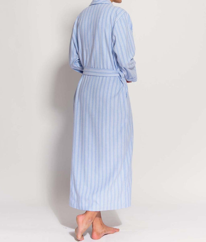 British Boxers Two-Fold Flannel (Westwood Blue Stripe) Robe - Sandra Dee - Product Shot - Rear