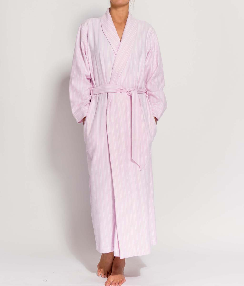 British Boxers Two-Fold Flannel (Westwood Pink Stripe) Robe - Sandra Dee - Product Shot - Front