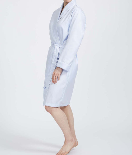 British Boxers Two-Fold Herringbone (Pearl Blue) Robe - Sandra Dee - Product Shot - Front