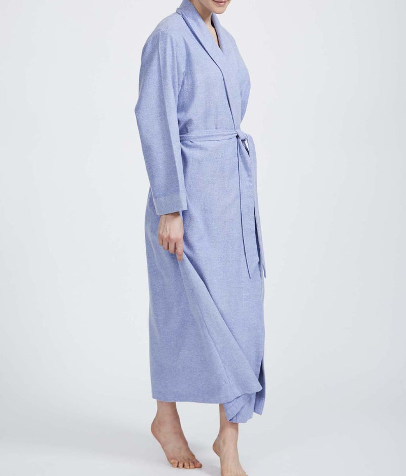 British Boxers Two-Fold Herringbone (Staffordshire Blue) Robe - Sandra Dee - Product Shot - Front