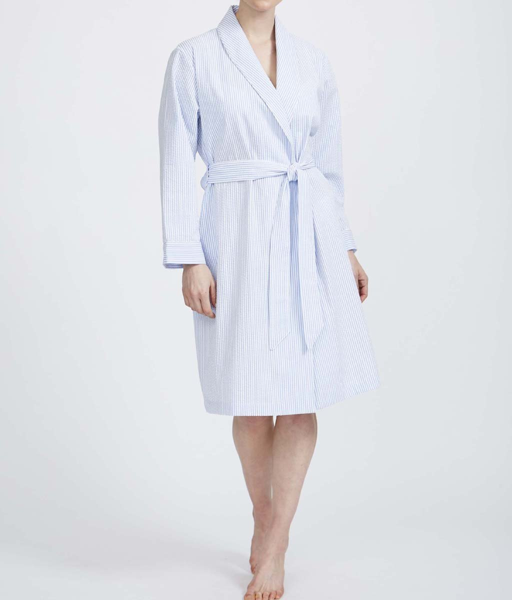 British Boxers Cotton Seersucker (Porthtowan) Robe - Sandra Dee - Product Shot - Front