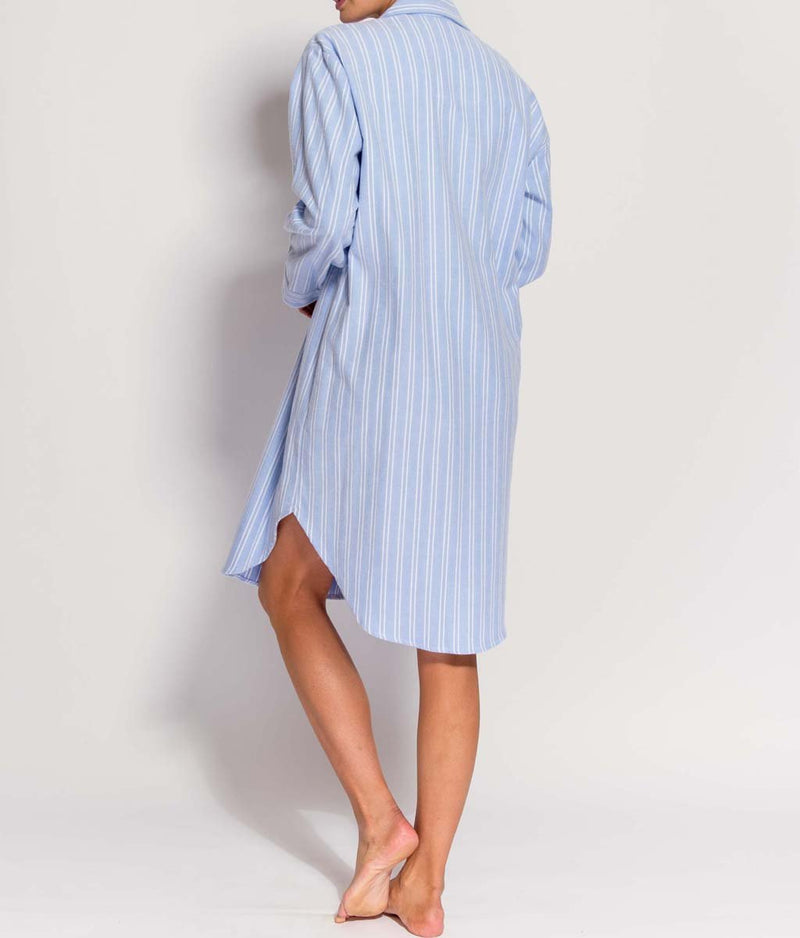 British Boxers Two-Fold Flannel (Westwood Blue Stripe) Nightshirt - Sandra Dee - Product Shot - Rear