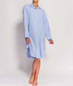 British Boxers Two-Fold Flannel (Westwood Blue Stripe) Nightshirt - Sandra Dee - Product Shot - Front