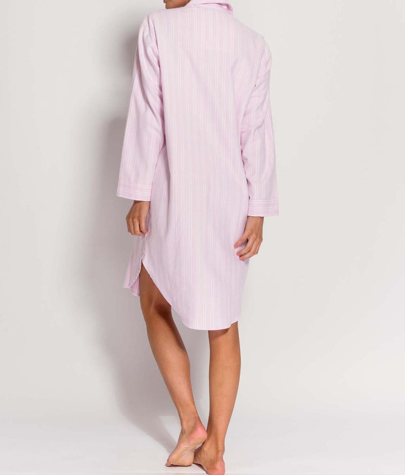 British Boxers Two-Fold Flannel (Westwood Pink Stripe) Nightshirt - Sandra Dee - Product Shot - Rear