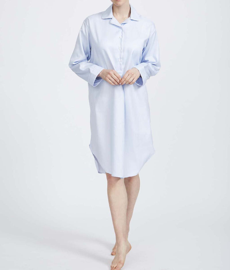 British Boxers Two-Fold Herringbone (Pearl Blue) Nightshirt - Sandra Dee - Product Shot - Front