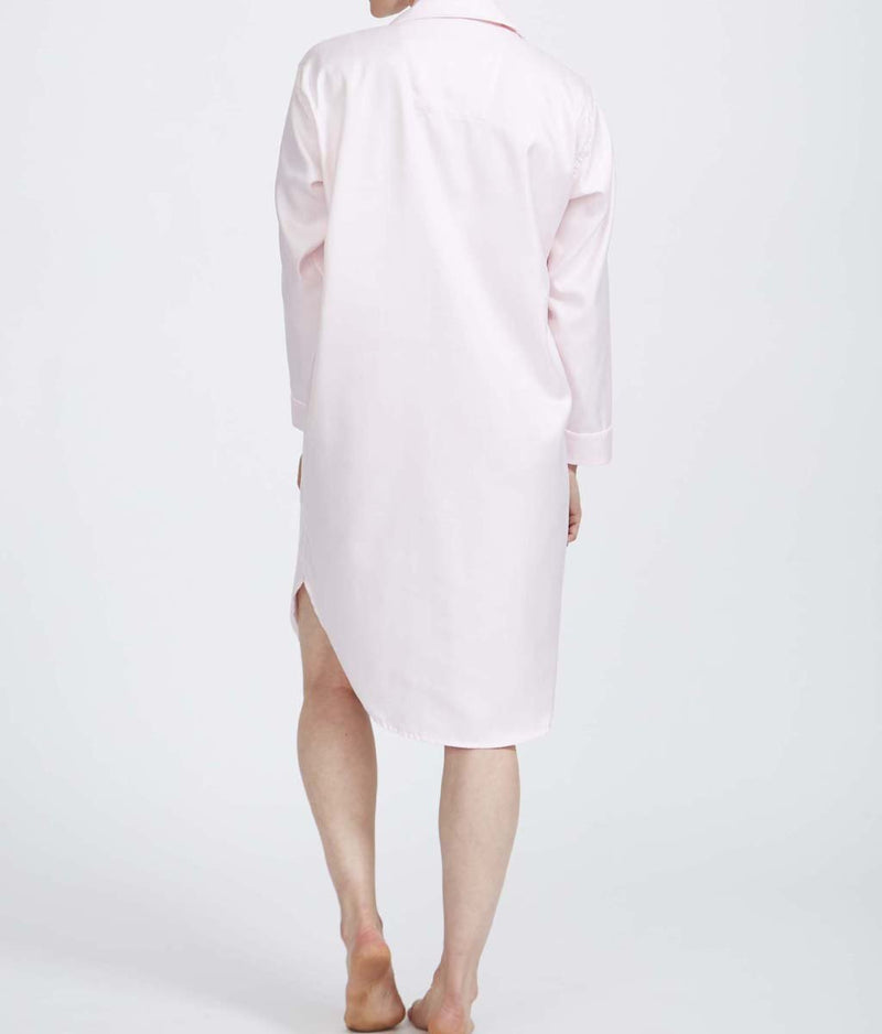 British Boxers Two-Fold Herringbone (Rosewater Pink) Nightshirt - Sandra Dee - Product Shot - Rear