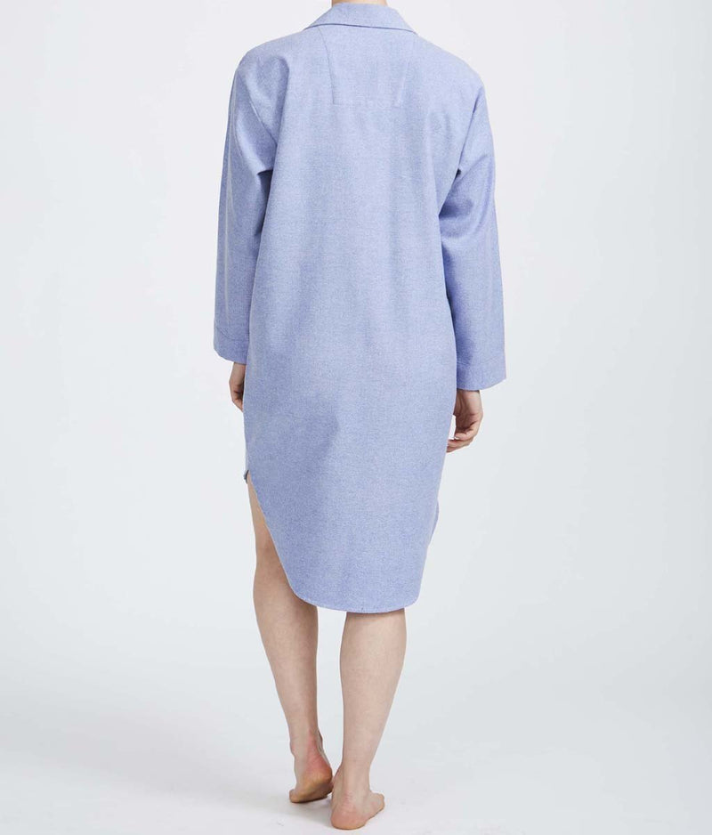 British Boxers Two-Fold Herringbone (Staffordshire Blue) Nightshirt - Sandra Dee - Product Shot - Rear