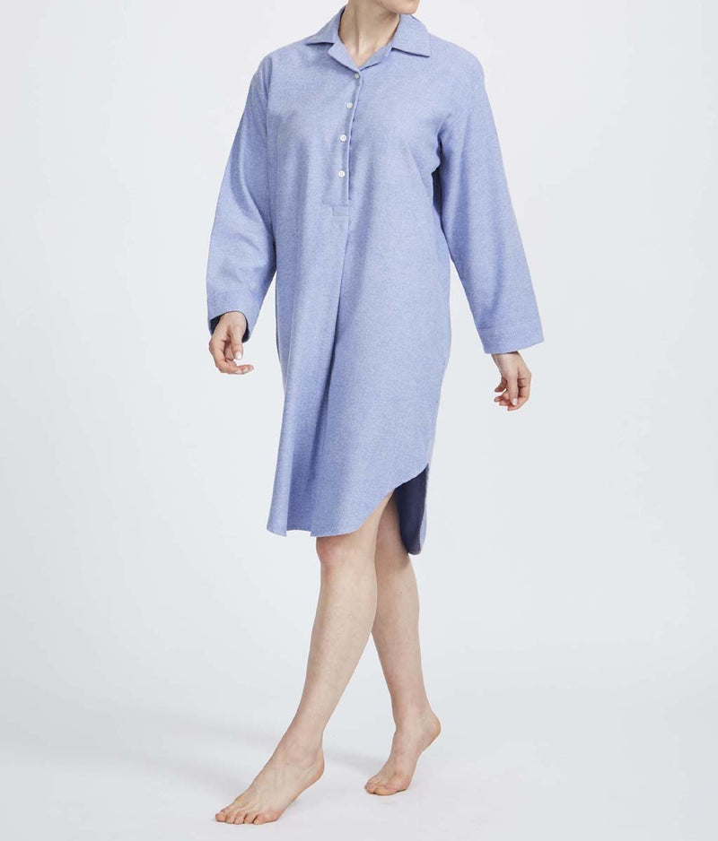 British Boxers Two-Fold Herringbone (Staffordshire Blue) Nightshirt - Sandra Dee - Product Shot - Front