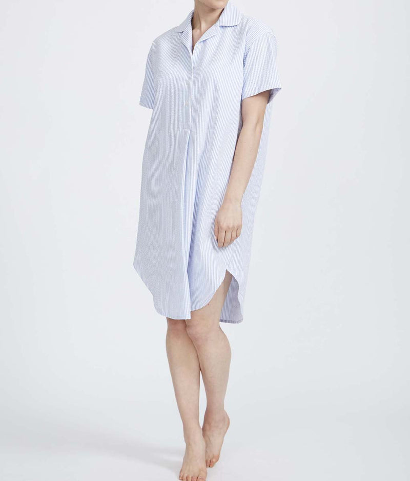 British Boxers Cotton Seersucker (Porthtowan) Nightshirt - Sandra Dee - Product Shot - Front