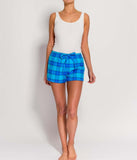 British Boxers Two-Fold Flannel (Aqua Tartan) Pyjama Shorts - Sandra Dee - Product Shot - Front