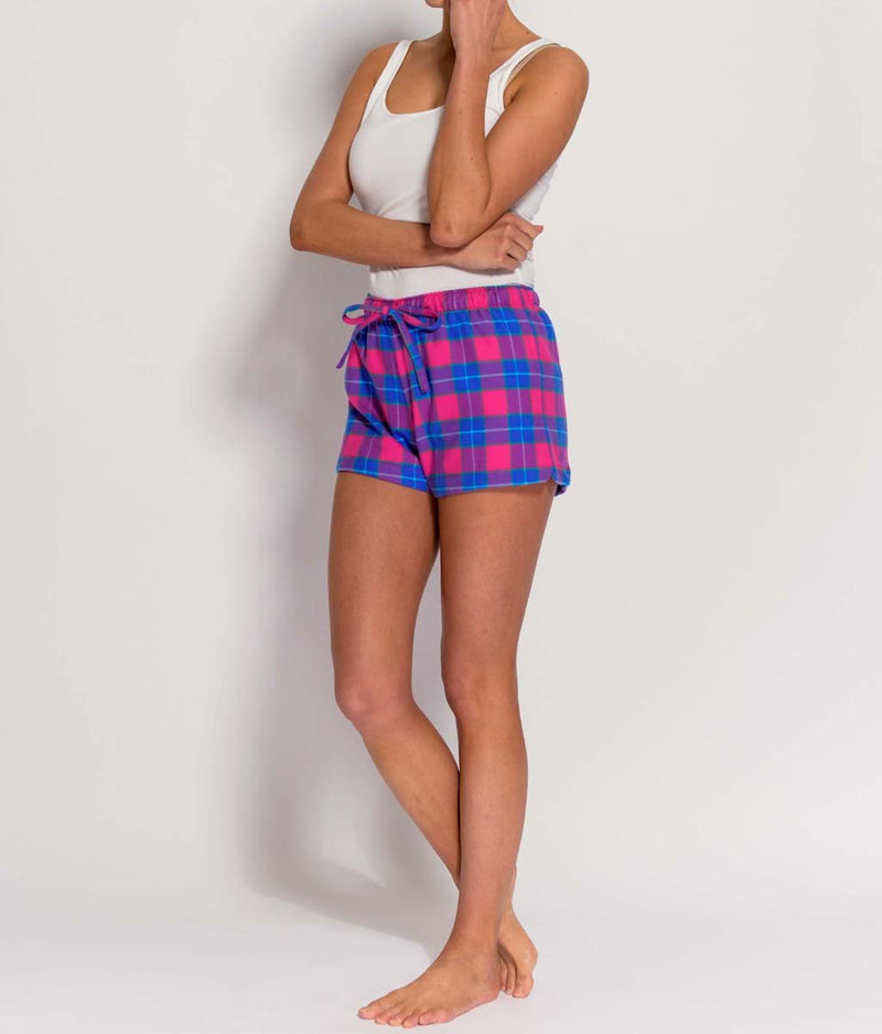British Boxers Two-Fold Flannel (Pink Tartan) Pyjama Shorts - Sandra Dee - Product Shot - Front