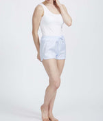 British Boxers Two-Fold Herringbone (Pearl Blue) Pyjama Shorts - Sandra Dee - Product Shot - Front