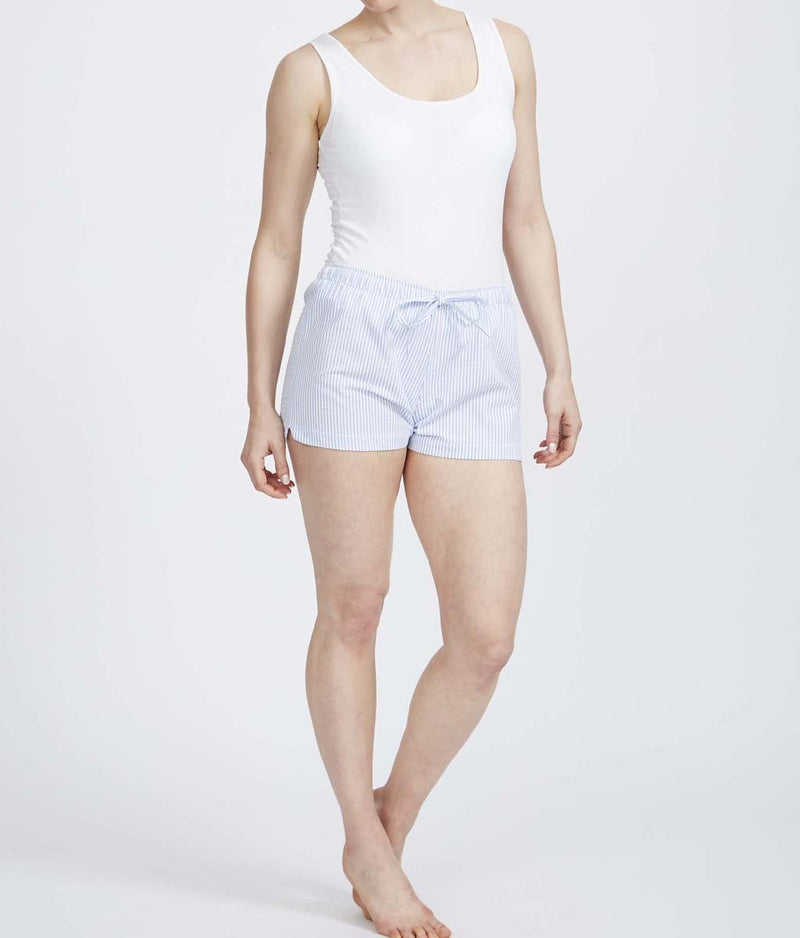 British Boxers Cotton Seersucker (Porthtowan) Pyjama Shorts - Sandra Dee - Product Shot - Front
