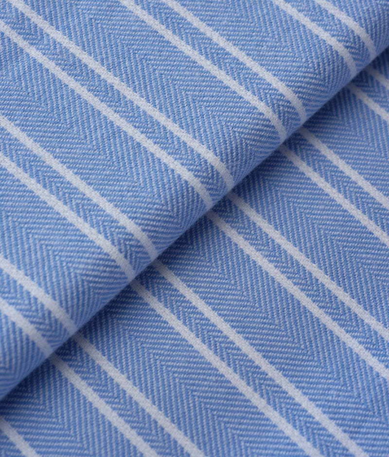 British Boxers Two-Fold Flannel (Westwood Blue Stripe) Robe - Sandra Dee - Product Shot - Fabric Swatch