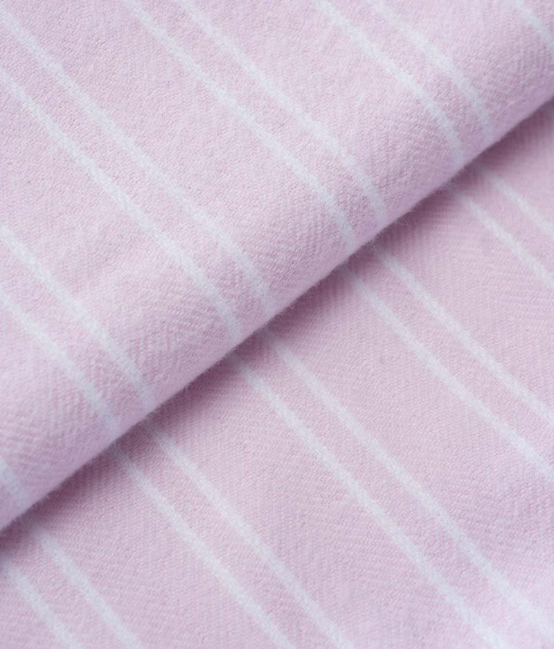 British Boxers Two-Fold Flannel (Westwood Pink Stripe) Robe - Sandra Dee - Product Shot - Fabric Swatch