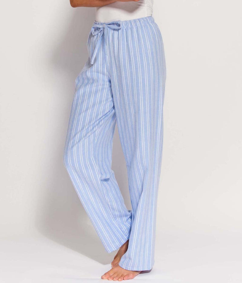 British Boxers Two-Fold Flannel (Westwood Blue Stripe) Pyjama Trousers - Sandra Dee - Product Shot - Front