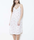 Cottonreal 'Rosebud Stripe' (Floral White) Zad Nightdress - Sandra Dee - Model Shot - Front