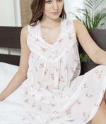 Cottonreal 'Rosebud Stripe' (Floral White) Zada Nightdress - Sandra Dee - Collection Publicity Shot