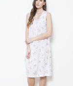Cottonreal 'Rosebud Stripe' (Floral White) Zada Nightdress - Sandra Dee - Model Shot - Front