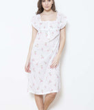 Cottonreal 'Rosebud Stripe' (Floral White) Zaida Nightdress - Sandra Dee - Model Shot - Front