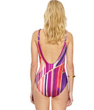 Gottex 'Art Deco' (Purple) Padded Crossover Swimsuit - Sandra Dee - Model Shot - Rear