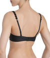 L'Aventure 'Tom' (Charcoal) Padded Plunge Bra - Sandra Dee - Model Shot - Rear