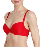 L'Aventure 'Tom' (Scarlet) Padded Plunge Bra - Sandra Dee - Model Shot - Side