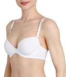 L'Aventure 'Tom' (White) Padded Plunge Bra - Sandra Dee - Model Shot - Side