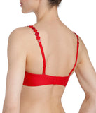 L'Aventure 'Tom' (Scarlet) Padded Plunge Bra (Heart Shape) - Sandra Dee - Model Shot - Rear