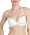 L'Aventure 'Tom' (White) Padded Plunge Bra (Heart Shape) - Sandra Dee - Model Shot - Front - Halterneck