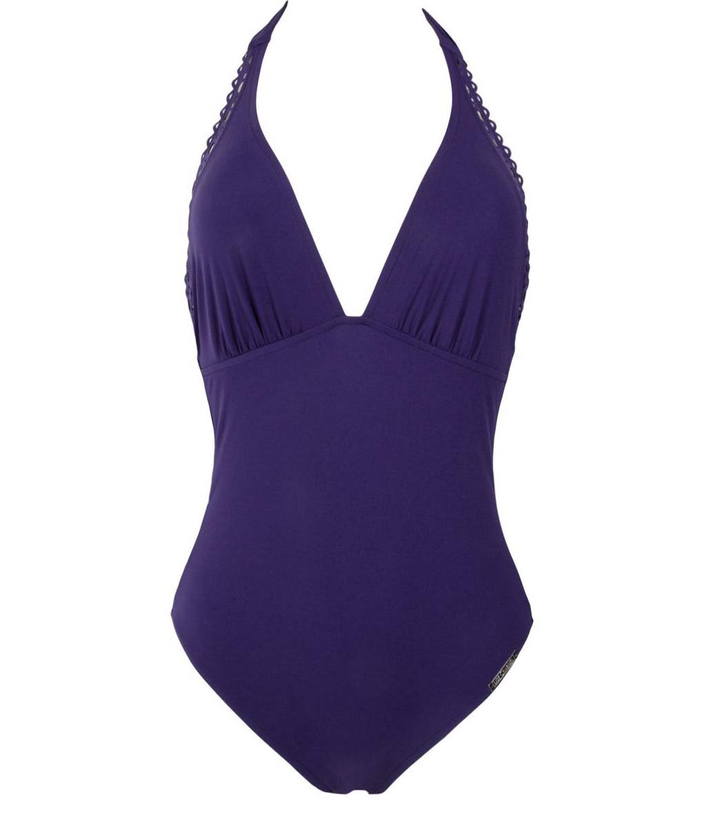 Lise Charmel 'Ajourage Couture' (Ajourage Royal) Halterneck Swimsuit - Sandra Dee - Product Shot - Front